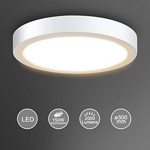 Creyer LED Deckenleuchte, LED Panel Deckenlampe 24W ersetzt 150W Glühbirne, ø30cm, 2000lm, Warmweiß (3000K), Rund/Metall Rahmen, Ideal für Schlafzimmer Küche Wohnzimmer, Nicht Dimmbar, AC 220-240V