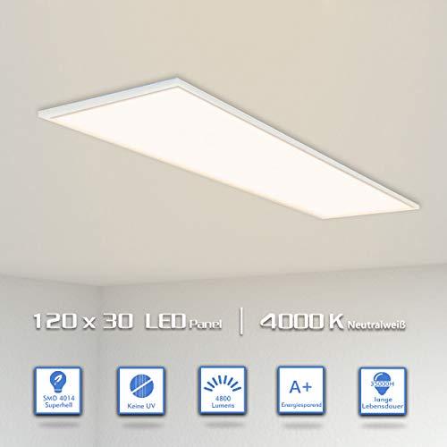 OUBO [ Pro High Lumen LED Panel 120x30cm Neutralweiß/48W/4800lm/4000K/Silberrahmen Lampe dünn Slim Ultraslim Deckenleuchte Wandleuchte Einbauleuchten, 48 W, Neutralweiß, 2