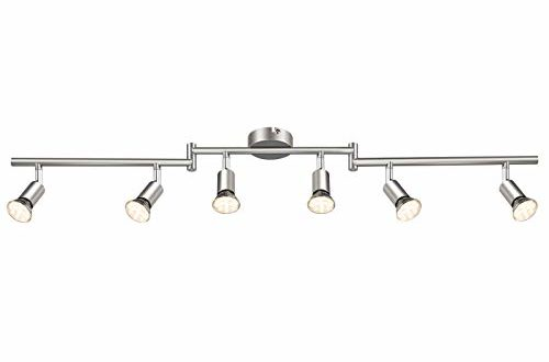 Reteck LED Deckenstrahler inkl. 6 x 3.5W GU10 LED Lampen, 6 Flammig, 380LM, Warmweiß, Matte Nickel, LED Deckenleuchte LED Deckenlampe LED Deckenspot, Schwenkbar, Nicht Dimmbar